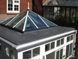 orangery with flat roof and skylight